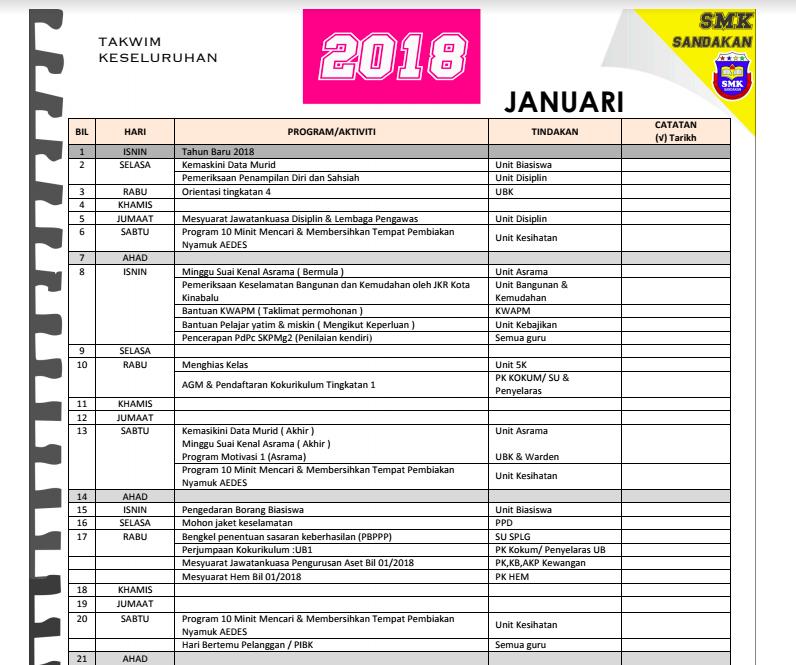 takwim smks 2018